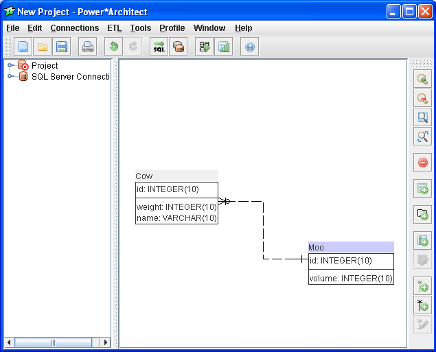 SQL Power Architect screenshot: opening screen